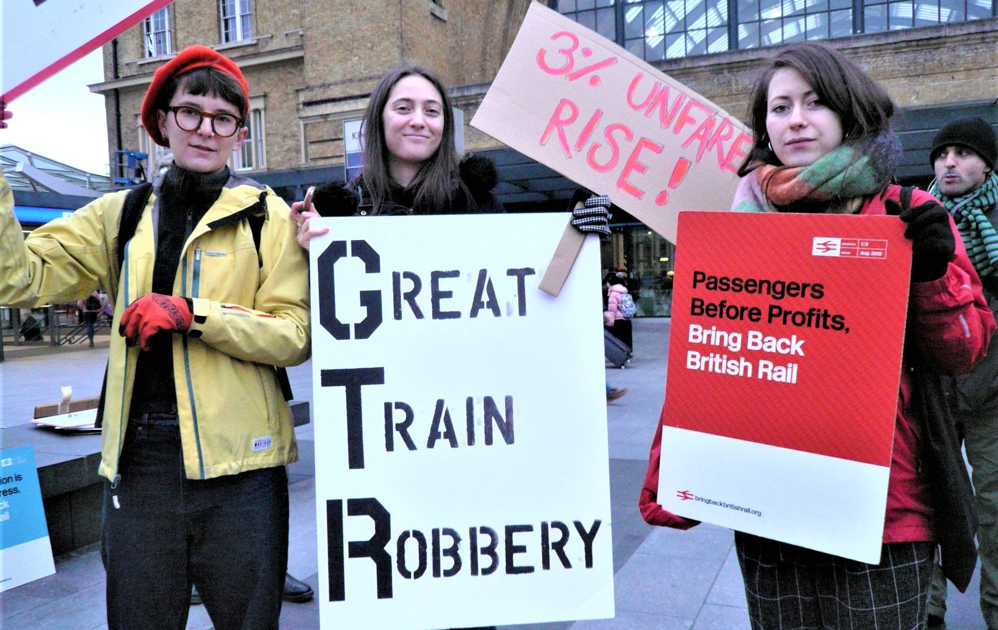 Photo of passengers protesting rail price rises