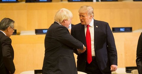 Boris Johnson and Donald Trump shaking hands