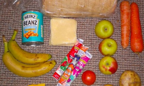 A photo of a sub-standard free school meal parcel