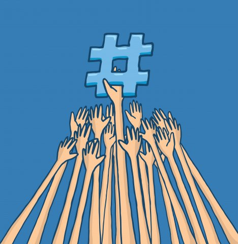 Hands reaching for a hashtag