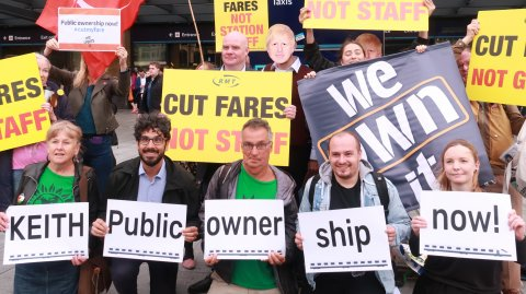 Anti-privatisation campaigners at King's Cross station