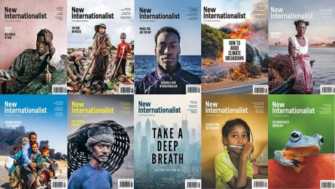 A collage of New Internationalist covers