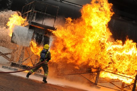 Firefighting training at an MoD site