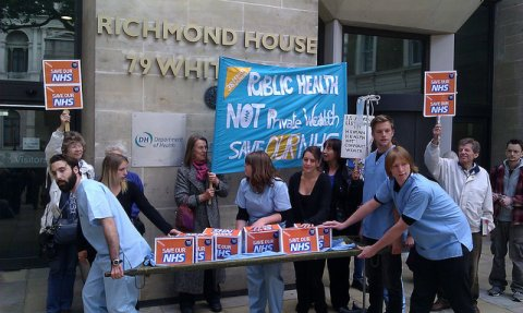 Photo of protest against NHS privatisation