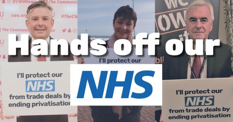 "Jon Ashworth, Caroline Lucas and John McDonnell with the words ""Hands off our NHS"" over the top"