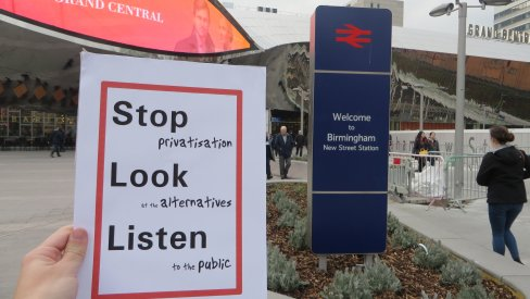 Leaflet outside station: Stop privatisation, look at the alternatives, listen to passengers
