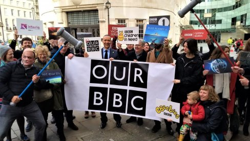 "Protesters with banner reading ""Our BBC"""