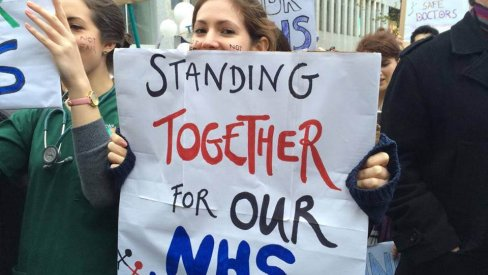 Photo of 'Standing together for our NHS' banner