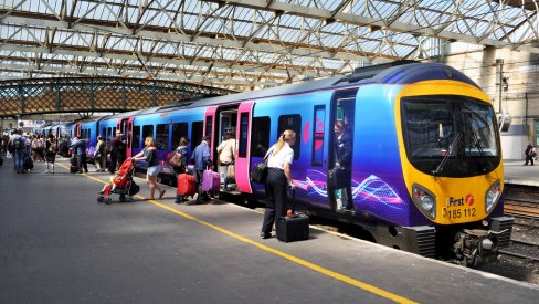 Rail passengers on a platform