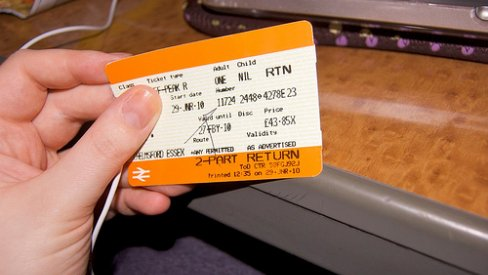 Photo of train ticket in hand