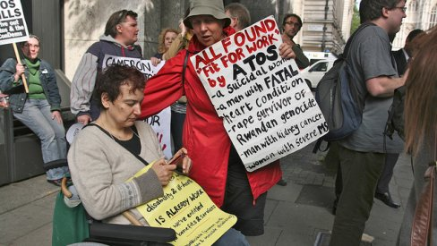 Photo of protest against Atos